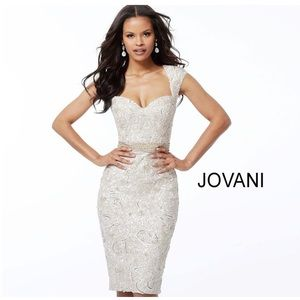 Jovani Champagne Midi Dress